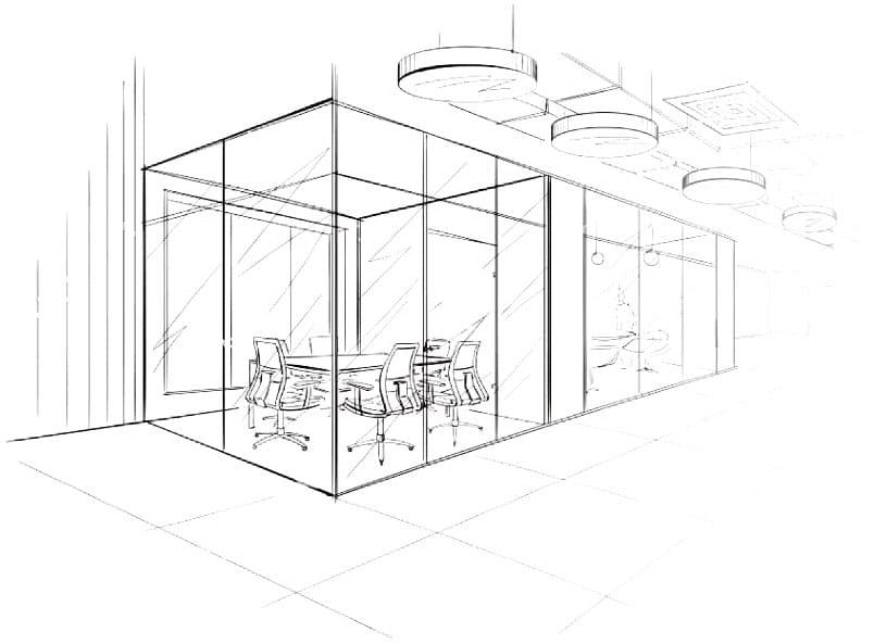 Boceto diseno de oficinas modernas